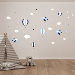 "Wall Sticker ""balloons, clouds, stars and plane"""